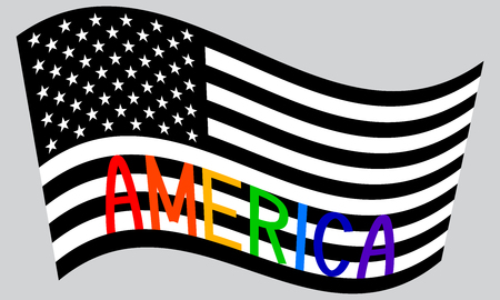American flag waving in black and white colors with word America in rainbow colors on gray background Illustration