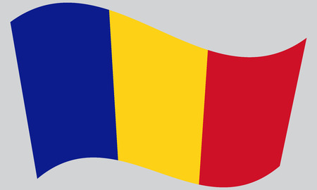 chad: Flag of Chad waving on gray background