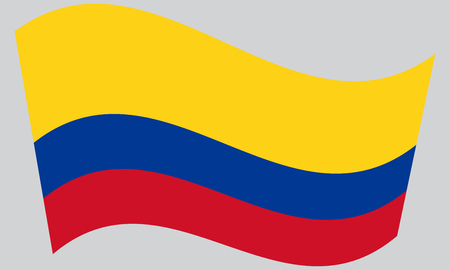 republic of colombia: Flag of Colombia waving on gray background