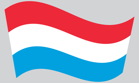 luxembourg: Flag of Luxembourg waving on gray background