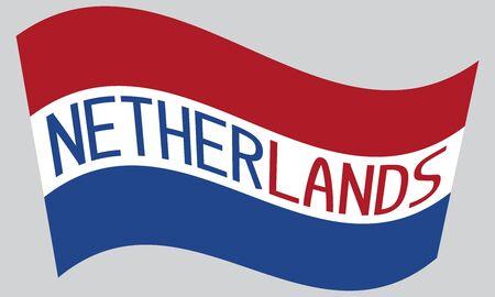netherlands flag: Netherlands flag waving with word Netherlands on gray background