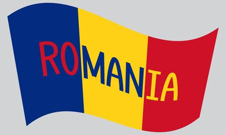 romanian: Romanian flag waving with word Romania on gray background Illustration