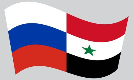 syrian: Russian and Syrian flags waving on gray background