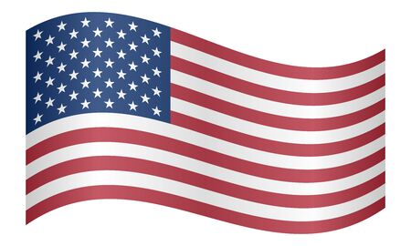 Flag of the United States waving on white background