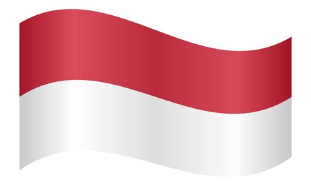 Flag of Indonesia waving on white background