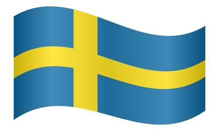 Flag of Sweden waving on white background
