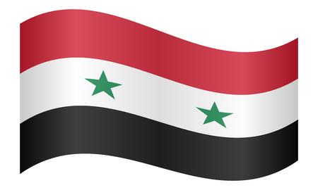 syria: Flag of Syria waving on white background