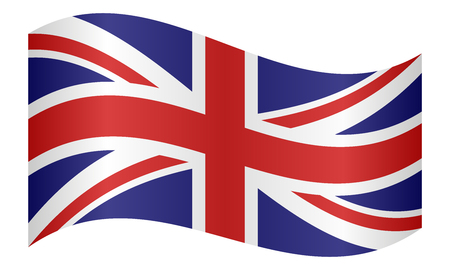british culture: Flag of the United Kingdom waving on white background