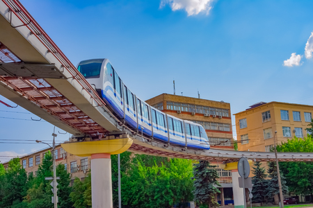 monorail: Cityscape of Moscow with monorail train, Russia