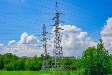 Electric power high voltage transmission line pylon tower Stock Photo