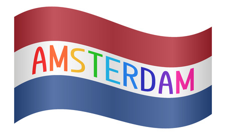 netherlands flag: Netherlands flag waving with multicolored word Amsterdam on white background