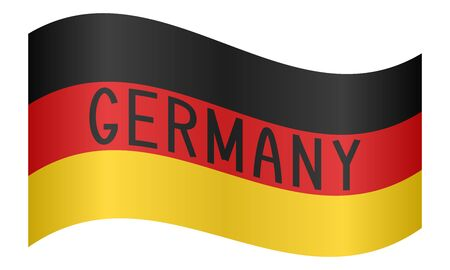German flag waving with word Germany on white background