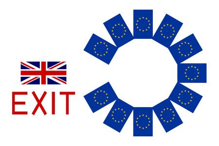 Concetto di Brexit. Bandiere d'Europa e Regno Unito con la parola Esci.