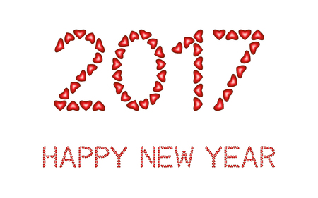 0 1 year: Happy New Year 2017 made from hearts on white background Illustration