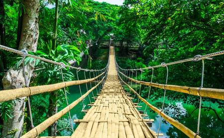 pedestrian bridges: Bamboo pedestrian hanging bridge over river in tropical forest, Bohol, Philippines, Southeast Asia