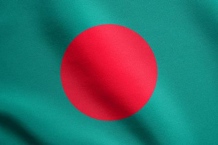 national flag bangladesh: Flag of Bangladesh waving in the wind with detailed fabric texture. Bangladeshi national flag. Stock Photo