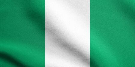nigerian: Flag of Nigeria waving in the wind with detailed fabric texture. Nigerian national flag.