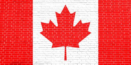 Flag of Canada on brick wall texture background. Canadian national flag.