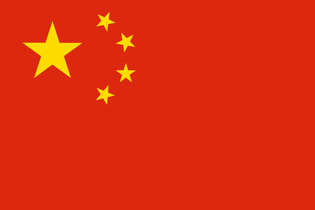 Flag of China in correct proportions and colors. Chinese national flag.