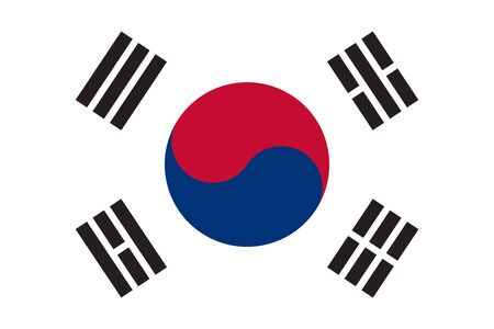 korean national: Flag of South Korea in correct size, proportions and colors. Accurate dimensions. South Korean national flag.