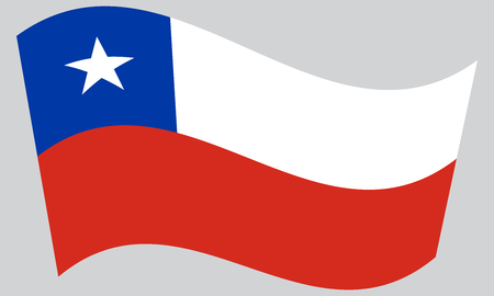 chilean: Flag of Chile waving on gray background. Chilean national flag. Illustration
