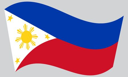 philippine: Flag of the Philippines waving on gray background. Philippine national flag.