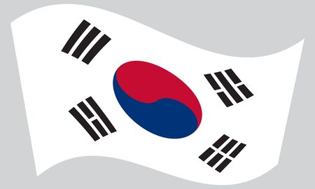 korean national: Flag of South Korea waving on gray background. South Korean national flag.