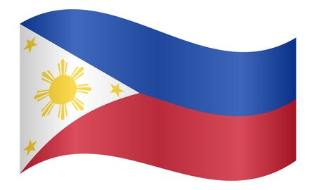Flag of the Philippines waving on white background. Philippine national flag. Illustration
