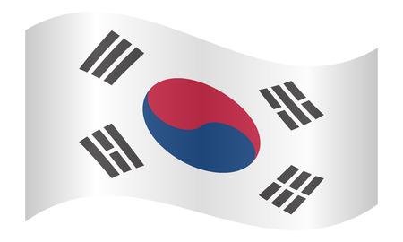 korean national: Flag of South Korea waving on white background. South Korean national flag.