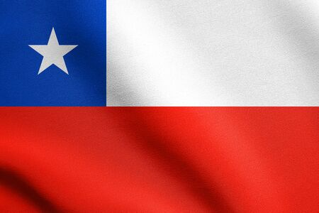 bandera chilena: Flag of Chile waving in the wind with detailed fabric texture. Chilean national flag.