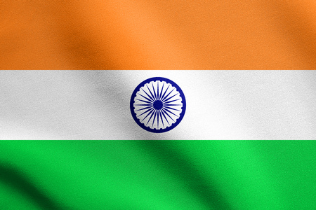 national identity: Flag of India waving in the wind with detailed fabric texture. Indian national flag.