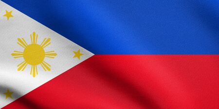 philippine: Flag of the Philippines waving in the wind with detailed fabric texture. Philippine national flag.