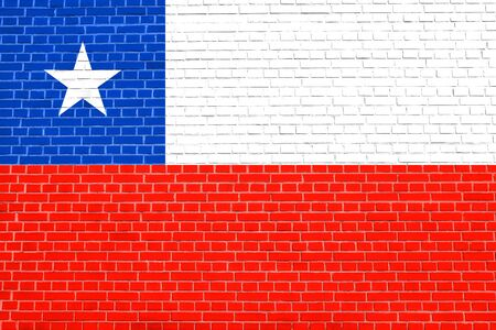 chilean: Flag of Chile on brick wall texture background. Chilean national flag.