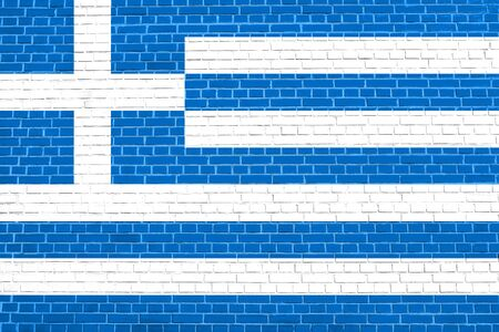solid state: Flag of Greece on brick wall texture background. Greek national flag.
