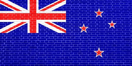 Flag of New Zealand on brick wall texture background. New Zealand national flag. Stock Photo