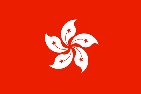 dimensions: Flag of Hong Kong in correct size, proportions and colors. Accurate dimensions. The Hong Kong is special administrative region of the Peoples Republic of China. Illustration