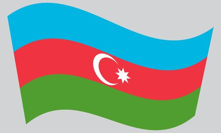 azerbaijani: Flag of Azerbaijan waving on gray background. Azerbaijani national flag.