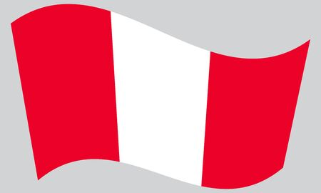 peruvian: Flag of Peru waving on gray background. Peruvian national flag. Illustration