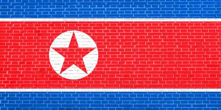 korean national: Flag of North Korea, Democratic Peoples Republic of Korea on brick wall texture background. North Korean, DPRK, national flag.