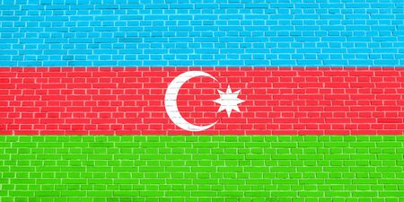 azerbaijani: Flag of Azerbaijan on brick wall texture background. Azerbaijani national flag.