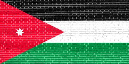 Flag of Jordan on brick wall texture background. Jordan national flag.