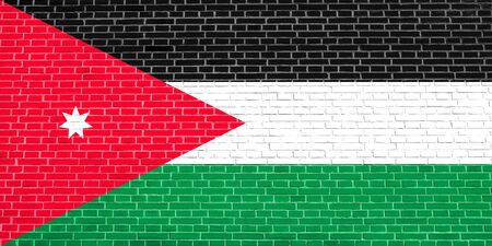 national identity: Flag of Jordan on brick wall texture background. Jordan national flag.