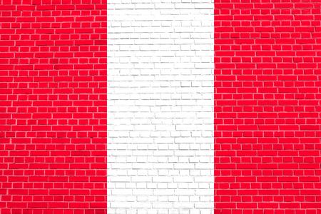 peruvian: Flag of Peru on brick wall texture background. Peruvian national flag.