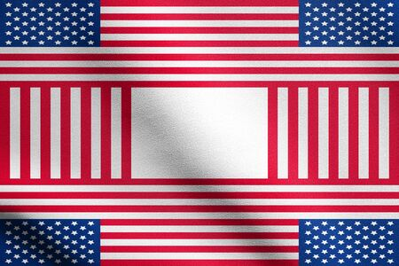 simbols: Patriotic USA design in style of the American flag with detailed fabric texture. Holiday background made of US flag simbols. Backdrop for greeting cards in the United States of America flag colors.