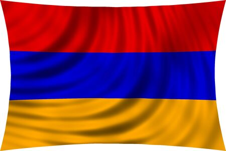armenian: Flag of Armenia waving in wind isolated on white background. Armenian national flag. Patriotic symbolic design. 3d rendered illustration