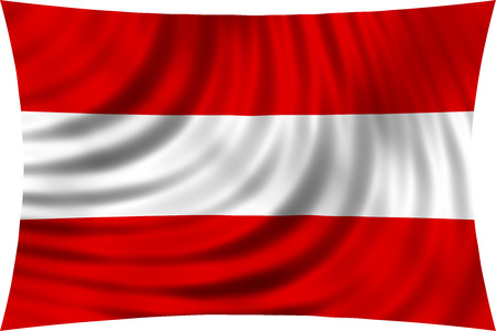 austrian: Flag of Austria waving in wind isolated on white background. Austrian national flag. Patriotic symbolic design. 3d rendered illustration