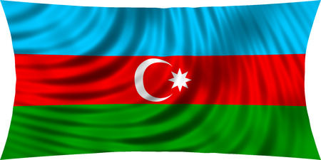 Flag of Azerbaijan waving in wind isolated on white background. Azerbaijani national flag. Patriotic symbolic design. 3d rendered illustration Stock Photo
