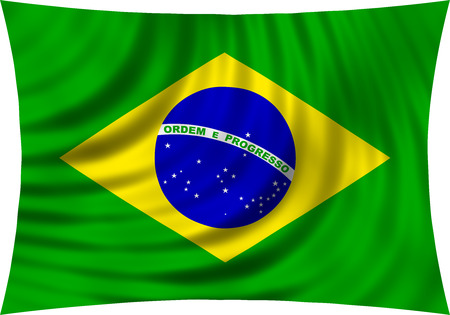 symbolic: Flag of Brazil waving in wind isolated on white background. Brazilian national flag. Patriotic symbolic design. 3d rendered illustration Stock Photo