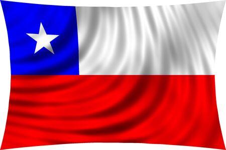 bandera chilena: Bandera de Chile ondeando en el viento sobre fondo blanco. bandera nacional de Chile. diseño patriótico simbólico. 3d rindió la ilustración Foto de archivo
