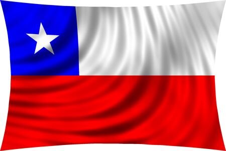 chilean: Flag of Chile waving in wind isolated on white background. Chilean national flag. Patriotic symbolic design. 3d rendered illustration